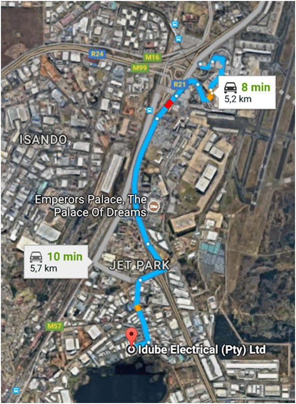 Driving Map from OR Tambo or Pretoria to Trugrid