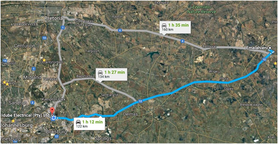 Driving map from Witbank (Emalahleni) Nelspruit to Trugrid
