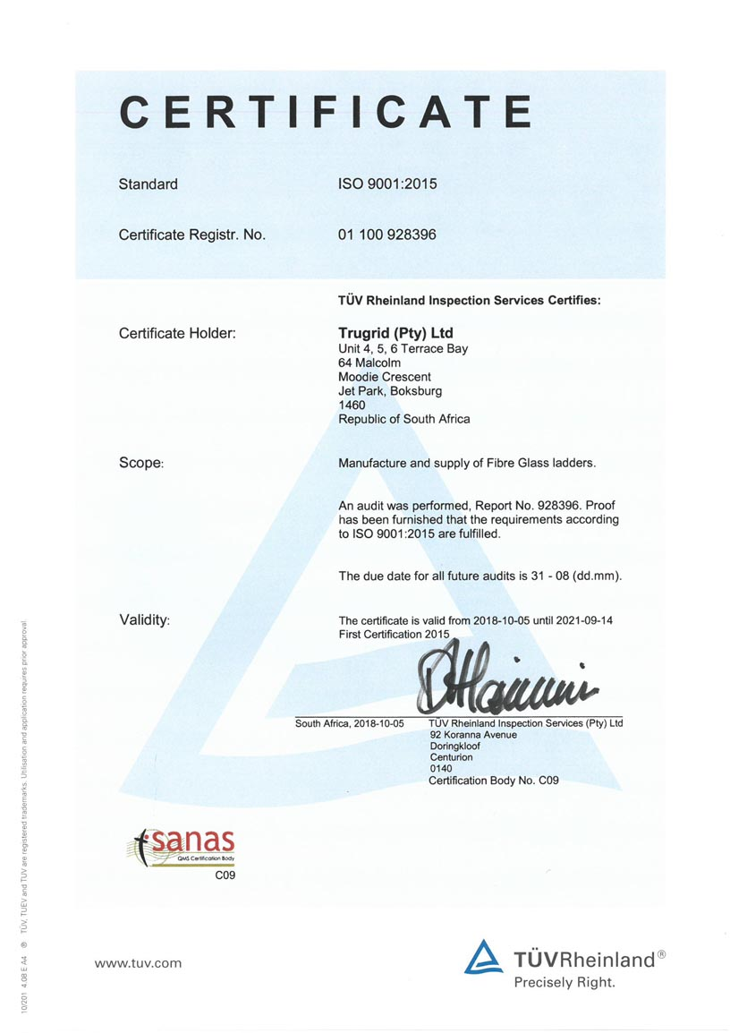 Trugrid ISO9001 Certificate